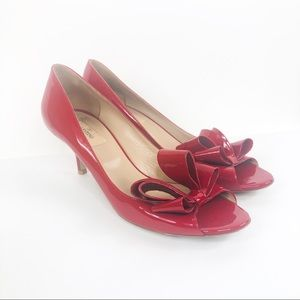 Valentino | Cherry Red Kitten Heel with Front Bow